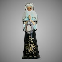 "Carved wood Praying Nun Ornament Hold Metal   5"" Tall"