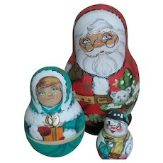Hand Painted Santa Claus Snow Man & Child Stacker Fits inside each Other