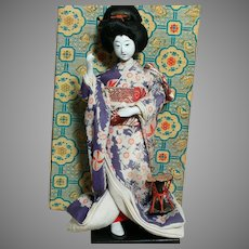 Vintage Geisha Asian Doll on Wood Stand Original Box  Swivel Neck Glass Eyes
