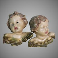 "Old Italian Cherubs Two Hanging Angels Hand Painted  Beautiful Faces 4"" x 4"""