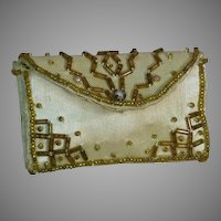 """French Fashion Doll Purse Satin Decorated with Amber Bead  2-7/8"""" X 1.3/4 """""""