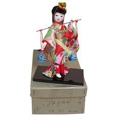 """Small Oriental Geisha Doll in Original Box Glass Eyes  Wood Base 6"""""""