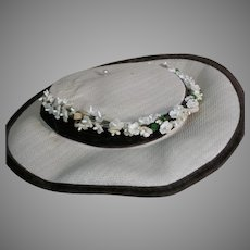 Vintage Doll White Hat black Ribbon with attached White flowers
