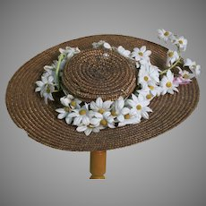 Vintage Straw Doll Hat Decorated with Daisy Flowers  9 Inches Across