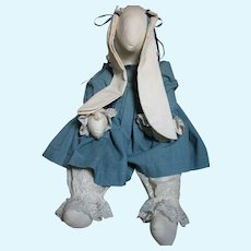 Large Cloth Ma Ma Rabbit dressed in Blue with Long ears 26""