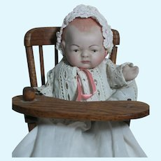 """All-Bisque Doll Swivel Neck Jointed Germany Baby in High Chair  well dressed 5 """""""