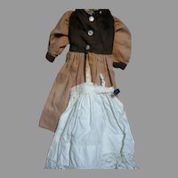 "Antique Doll Dress Two Tone Brown with Cotton Slip  11"" Long"