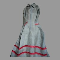 """Antique Doll Dress  Grey Silk with Red Ribbon Trim  20 """" Long"""