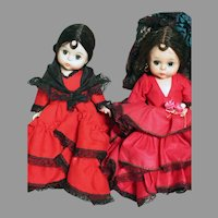 Two Madame Alexander dolls Spain  and Spanish 1 Box  8""