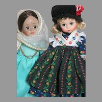 Two Madame Alexander doll  Germany and India   International Dolls 8""