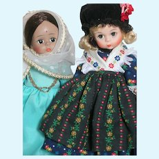 """Two Madame Alexander doll  Germany and India   International Dolls 8"""""""