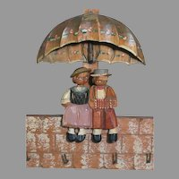 Carved Wood Key Holder with A Cute Boy and Girl sitting Under Umbrella