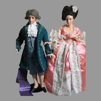 """2 Wonderful Rare Tita Ling Carved Wooden Dolls Exquisitely Dressed  12-13"""" Tall"""