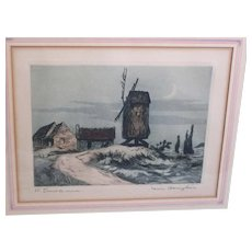 Louis Dauphin Etching  Moon over Dunes   #25  Signed & Colored