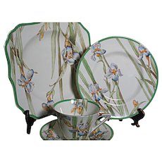 Vintage Royal Doulton Bone China Iris Pattern Cup Saucer Desert & Luncheon  Plate
