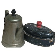 Toy Graniteware Roasting  Pan & Coffee for Salesman Sample Stove