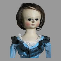 "Antique Wood Queen Anne Doll Carved Wooden Face Dark Glass Eyes 25""  1700's"
