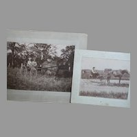 Two Black & White Photo's of Ladies in Buggy and Man in Buggy 1800's