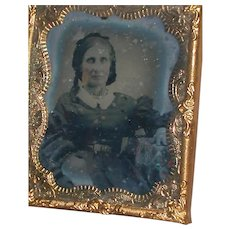 Ambrotype Photo Picture Lady In Chair  in Gold Frame 1800's