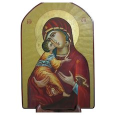 """Beautiful Hand Painted Icon of Virgin Mary & Child Jesus or Vladimir 12"""" by 8"""""""