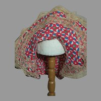 Cotton Doll Hat with Lace Trim red Print  Fits 12 to 13 Inch  Cir. Head