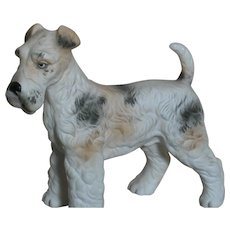 "Lefton Porcelain Fox Terrier Dog with Label & numbered 5"" X 5"""