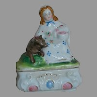 Antique Fairing Quality Porcelain  Box  Girl with Basket With Dog by Her Side