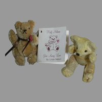 "Linda Nelson Half Nelson Miniature Teddy Bear Barry 2-1/2""  & 1 miniature old Teddy Bear 3"""