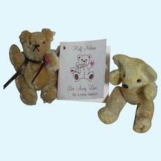 """Linda Nelson Half Nelson Miniature Teddy Bear Barry 2-1/2""""  & 1 miniature old Teddy Bear 3"""""""