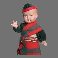 """Composition Toddler Scottish Character Doll  Jointed  All Original  11"""" tall 1920's"""