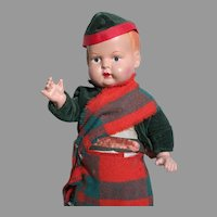 "Composition Toddler Scottish Character Doll  Jointed  All Original  11"" tall 1920's"