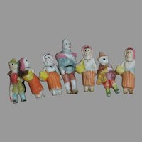 "Tiny All bisque Frozen Dolls  4 Ladies  3 Men  Characters   1"" to 1-1/2 ""  1920's"