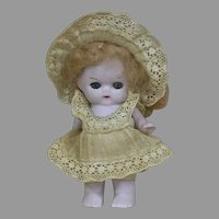 Tiny All-Bisque Dollhouse Doll Original Outfit  Glass Eyes  2-3/4 inches tall