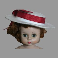 Vintage 1950's White Doll Hat With Red Bow  Madame Alexander doll is not included