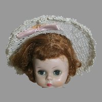 Vintage 1950's White Straw Doll Hat   Madame Alexander doll is not included