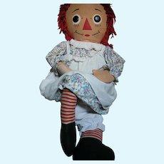 Large Knickerbocker Cloth Raggedy Ann Doll all Original  Large 40 Inches Tall 1960's