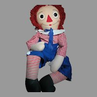 Large Knickerbocker Cloth Raggedy Andy  Doll all Original  Large 44 Inches Tall 1960's