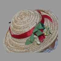 Vintage Straw Doll Hat Decorated with Daisy Flowers  3-1/4  Inches Across 1950's