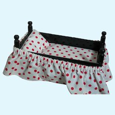 Vintage wood Doll Bed Polka Dot Mattress and Skirt Made with Clothes pin -Spools