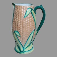 Majolica Corn Pitcher with Handle and a Registry mark on Bottom