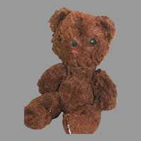 """Old Tiny Brown Teddy Bear Jointed Shoe Button eyes 7-1/2 """""""