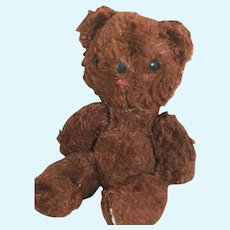 Old Tiny Brown Teddy Bear Jointed Shoe Button eyes 7-1/2 ""