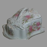 """Porcelain Covered  Cheese Dish Staffordshire Stoke on Trent England  9"""" by 5"""""""