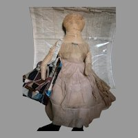 "Antique Cloth Doll With News Paper 1849 that was In Body 32"" tall"
