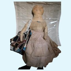 """Antique Cloth Doll With News Paper 1849 that was In Body 32"""" tall"""