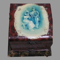 """Antique Collar Box  Celluloid Top Picture of Courting Couple 7 """" by 8"""""""