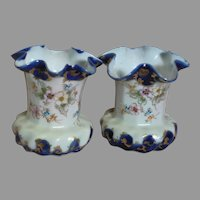 "Two Small Porcelain Vases Beautiful Fine Porcelain Asian Mark on bottom 4"" Tall"