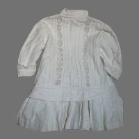 "Antique  White Cotton Doll Dress Built in belt at Hip ]17 "" Long"