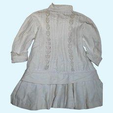 "Antique  White Cotton Doll Dress Built in belt at Hip ]17 "" Long"