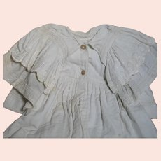 """Antique Cotton Baby Doll Coat Gown  Soft Material  Large Collar 34"""" Long"""